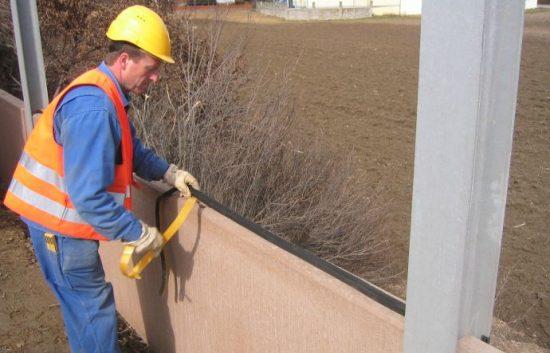 Fotoserie Bau einer Lärmschutzwand im Straßenbau - LSW - Schritt 16: