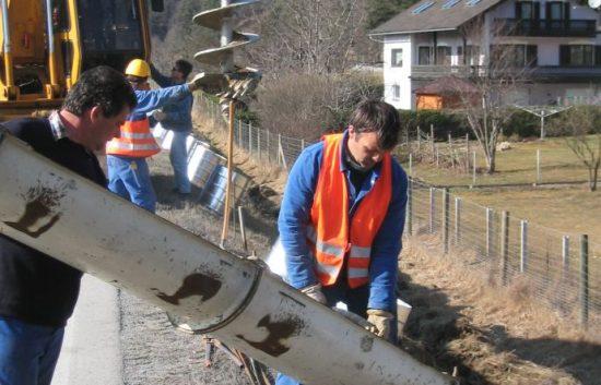 Fotoserie Bau einer Lärmschutzwand im Straßenbau - LSW - Schritt 2: