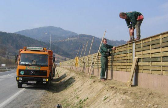 Fotoserie Bau einer Lärmschutzwand im Straßenbau - LSW - Schritt 21:
