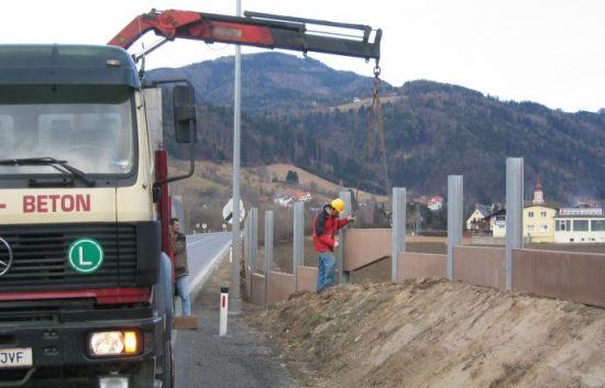 Fotoserie Bau einer Lärmschutzwand im Straßenbau - LSW - Schritt 5: