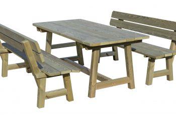 Sitzgarnitur - Kainachtal, extra breiter Tisch, Bank mit ergonomischer Sitzfläche -Tisch 195x90 cm, Höhe 78 cm, Bank L:195 cm, Sitzhöhe 48 cm. Aus ausgesuchtem Kiefernholz, kesseldruckimprägniert, fertig montiert