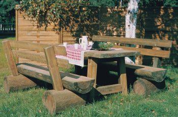 Sitzgarnitur - Alpin / Tisch 180x77 cm, Höhe 75 cm, Bank L:200 cm, Sitzhöhe 40 cm. Aus ausgesuchtem Kiefernholz, kesseldruckimprägniert, fertig montiert