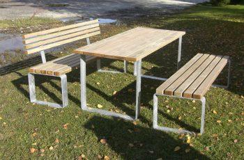 Sitzgarnitur - Verona / Tisch 180x75 cm, Höhe 73,5 cm, Bank L:180 cm, Sitzhöhe 46 cm. Stahl feuerverzinkt, Auflagen aus Kiefernholz, kesseldruckimprägniert, fertig montiert